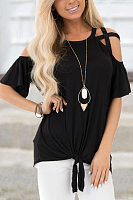 Hollow Out Shoulder Short Sleeve Solid T-shirt