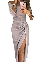 Off Shoulder  High Slit  Plain  Long Sleeve Maxi Dresses