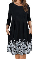Round Neck  Ruffled Hem  Printed  Long Sleeve Casual Dresses