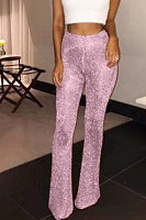Glitter  Plain  Basic   Pants