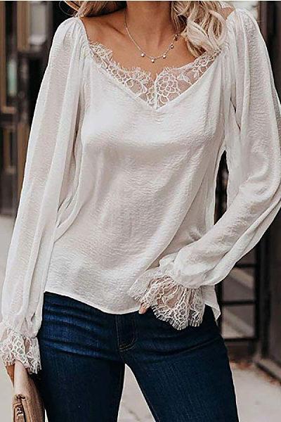 V Neck Decorative Lace Plain Blouse