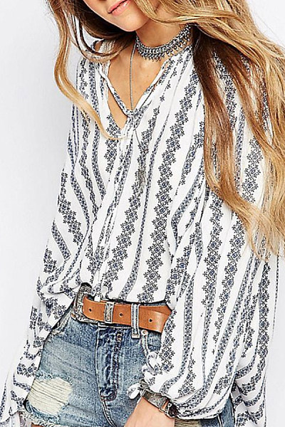 V Neck  Stripes  Lantern Sleeve  Blouses