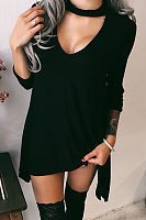 Deep V Neck  Asymmetric Hem  Plain Casual Dresses