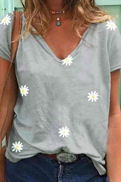 Daisy Printed V Neck T-shirt
