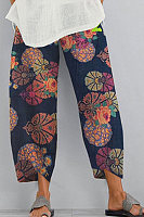 Women's Cotton And Linen Printed Elastic Cropped Pants