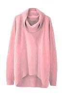 Cowl Neck  Asymmetric Hem  Plain Sweaters