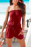 Strapless  Backless  Belt Loops  Plain  Sleeveless  Playsuits