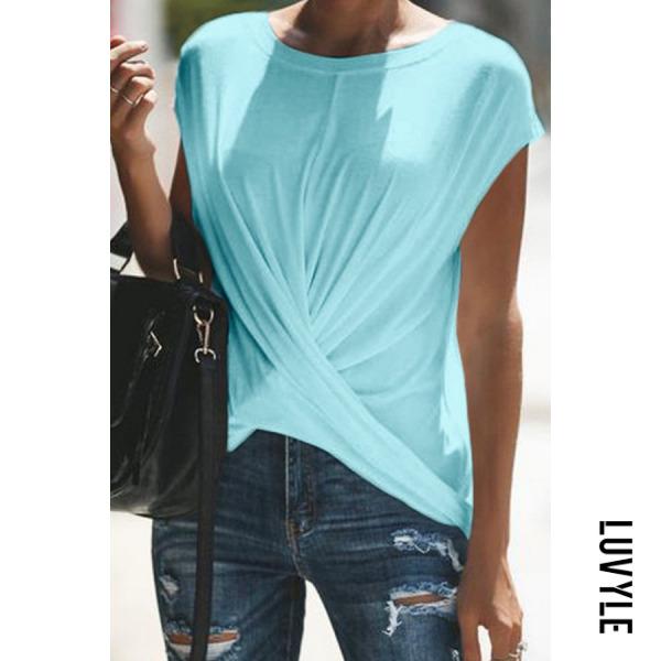 Blue Casual Pure Clor T-Shirt Blue Casual Pure Clor T-Shirt