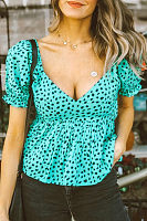 V Neck  Printed  Blouses