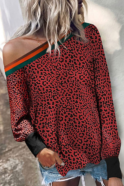 Single Shoulder Collar Leopard T-shirt