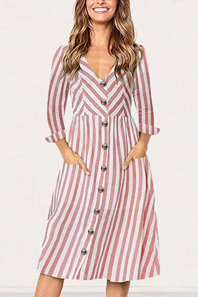 V Neck  Single Breasted  Striped  Long Sleeve Maxi Dresses