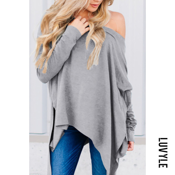Light Gray One Shoulder Asymmetric Hem Plain T-Shirts Light Gray One Shoulder Asymmetric Hem Plain T-Shirts
