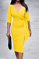 V Neck  Plain  Half Sleeve Bodycon Dresses
