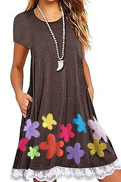 Loose Crew Neck Short Sleeve Printed Dress