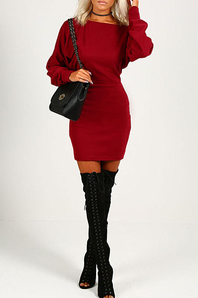 Open Shoulder  Plain  Long Sleeve Bodycon Dresses