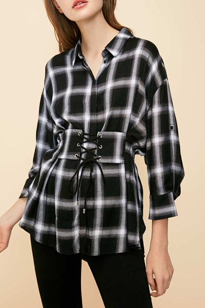 Turn Down Collar  Belt  Gingham  Blouses