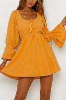 Scoop Neck  Plain  Bell Sleeve  Long Sleeve Skater Dresses