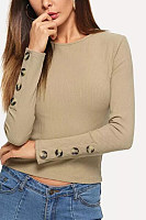 Round Neck  Decorative Buttons  Plain Sweaters
