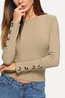 Round Neck  Decorative Buttons  Plain Sweaters