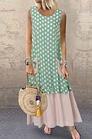 Casual Round Neck Patchwork Sleeveless Dress