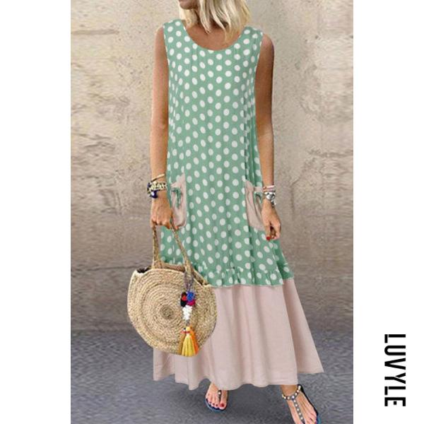 Casual Round Neck Patchwork Sleeveless Dress