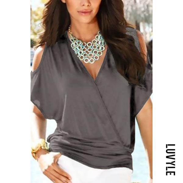 Gray Open Shoulder V Neck Plain T-Shirts Gray Open Shoulder V Neck Plain T-Shirts