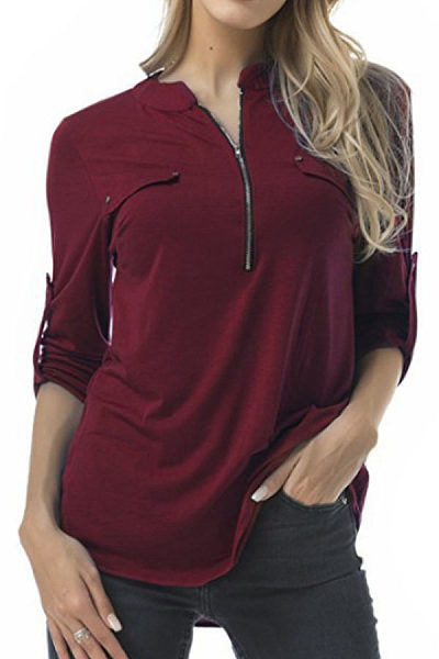 V Neck  Zipper  Plain T-Shirts
