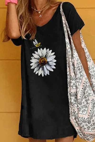 Casual Mid-length Round Neck Daisy Print T-shirt