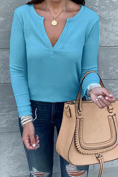 Casual V-Neck Solid Color Long Sleeve T-Shirt