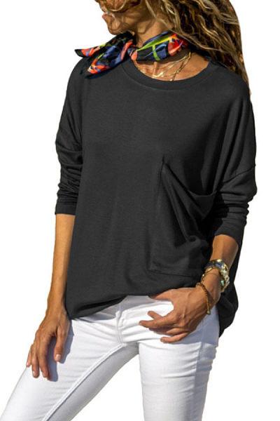 Round Neck  Patch Pocket  Plain T-Shirts