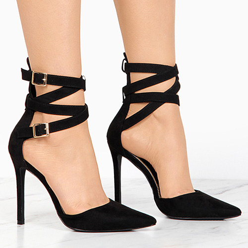 Plain  Stiletto  High Heeled  Ankle Strap  Point Toe  Date Stiletto Heels