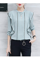 Band Collar Contrast Trim Flounce Long Sleeve T-Shirt