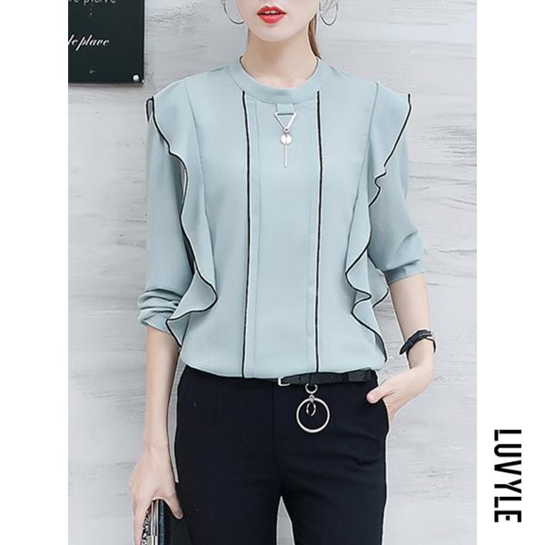Light Blue Band Collar Contrast Trim Flounce Long Sleeve T-Shirt Light Blue Band Collar Contrast Trim Flounce Long Sleeve T-Shirt