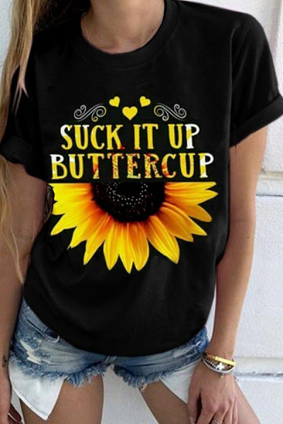 Round Neck Floral Casual T-Shirt