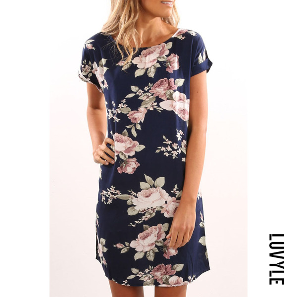 Dark Blue Round Neck Floral Printed Short Sleeve Casual Dresses
