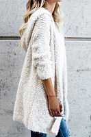Hat Collar Long Sleeve Plain Cardigan