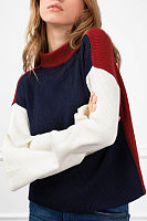 Round Neck  Seamless  Patchwork Sweaters