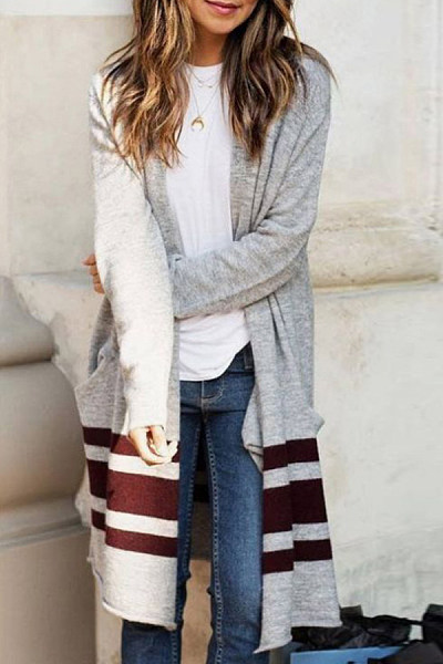 Patchwork  Polyester  Autumn Casual   Cardigans