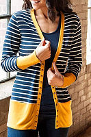 Snap Front  Patchwork Striped Cardigans