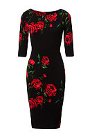 Vintage Floral Printed Round Neck Bodycon Dress