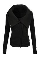 Fold-Over Collar Zips Plain Jacket