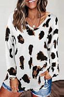 Leopard V Neck Long Sleeve T-shirt