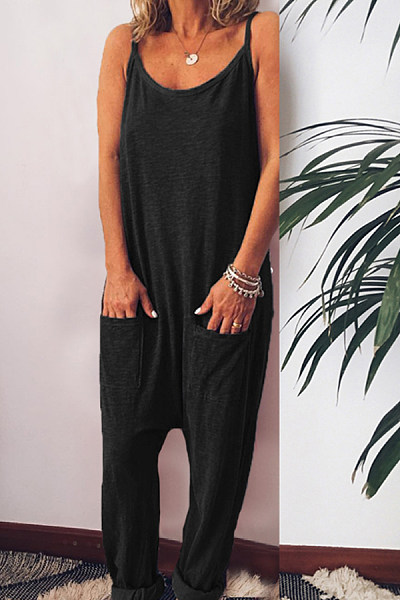 Spaghetti Strap  Loose Fitting  Plain  Sleeveless Jumpsuits