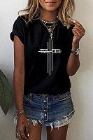 Round Neck Christian Cross T-shirt