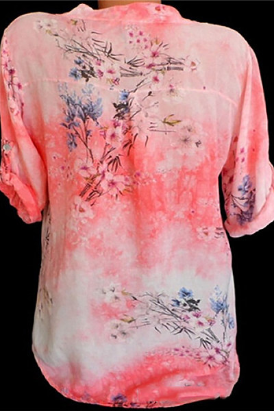 Casual V-Neck Button Flower Print Sequin Pocket Pull-Up Long-Sleeved Shirt