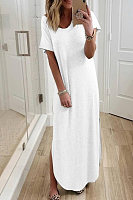 Casual Plus Size V Neck Short Sleeve Shirt Dress