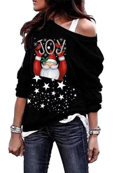 Women's Casual JOY Santa Printed Collar Sweatshirt