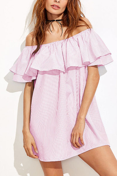 Off Shoulder  Flounce  Striped  Short Sleeve Casual Dresses