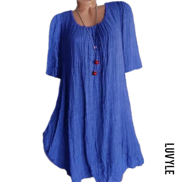 Blue Casual Round Neck Pure Colour Half Sleeve Loose Dress Blue Casual Round Neck Pure Colour Half Sleeve Loose Dress