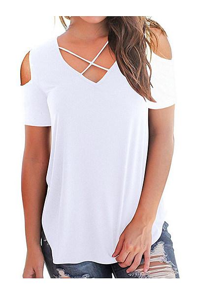 V Neck  Cutout Loose Fitting  Plain Short Sleeve T-Shirts